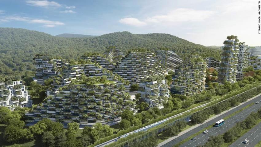 China y su ciudad cubierta totalmente de árboles